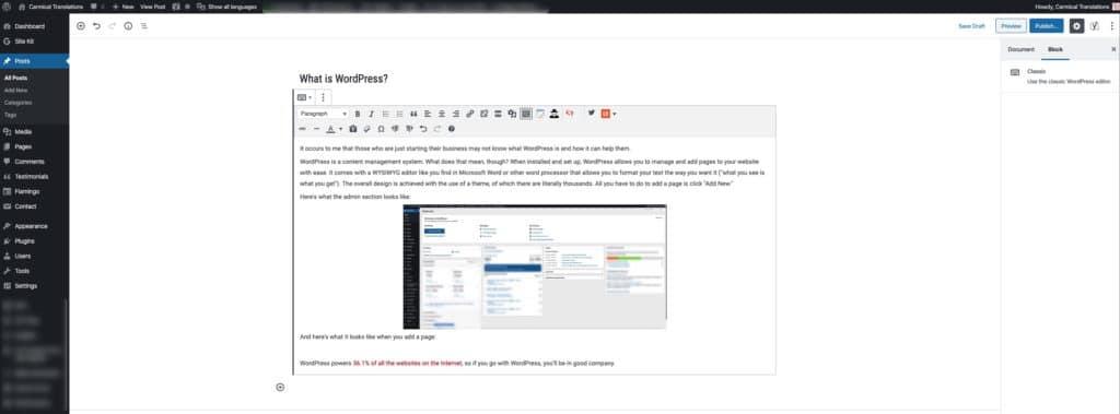 WordPress page creation screen